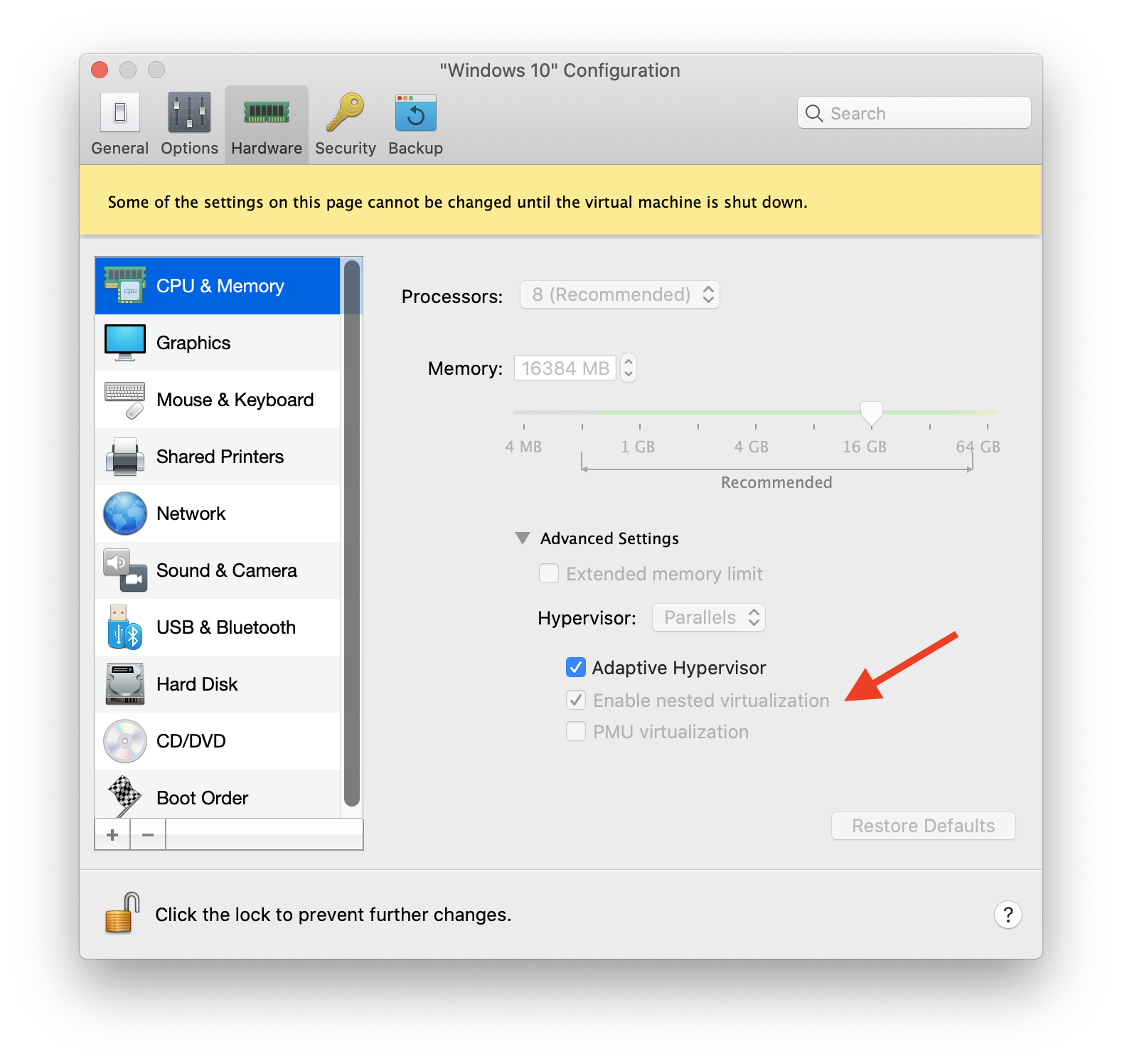 Nested virtualization in Parallels Configure Menu