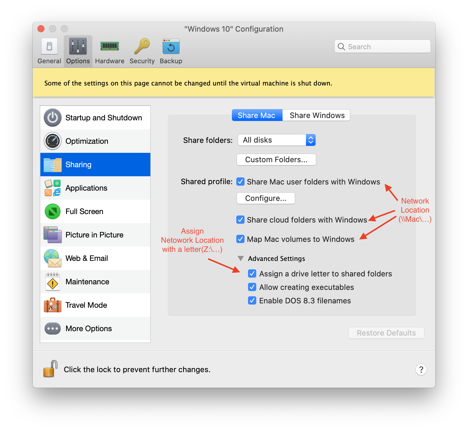Files Sharing in Parallels Configure Menu
