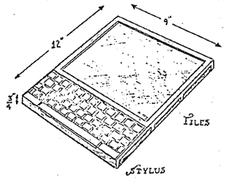 The Dynabook's original illustration in Alan C. Kay's 1972 Paper